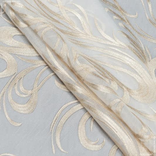 Ткани для тюли - Тюль с утяжелителем агаста молочный  купон/  вышивка золото