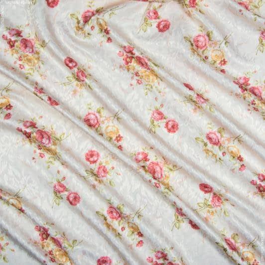 Ткани гардинные ткани - Декоративная ткань сатен принт  розы  красный