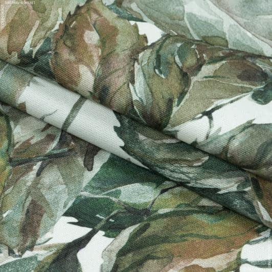 Тканини портьєрні тканини - Декоративна тканина листя т. оливка