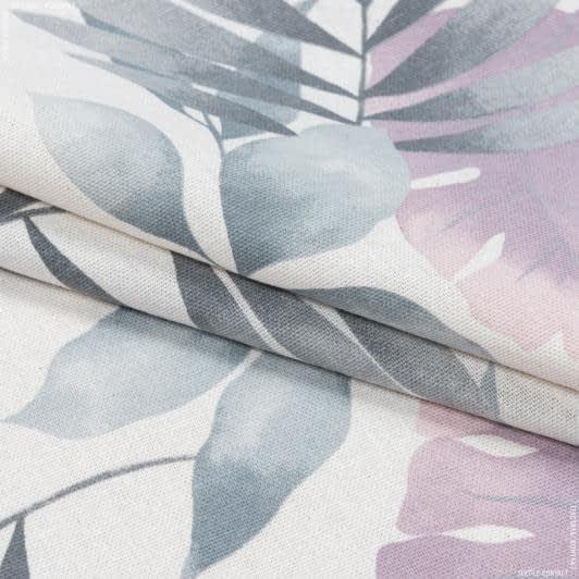 Ткани портьерные ткани - Декоративная ткань листья богемиан /bohemian  серый сизый