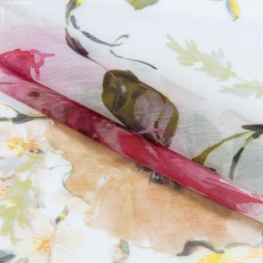Ткани для драпировки стен и потолков - Тюль с утяжелителем батист мадрид цветы/madrid фрез,желтый