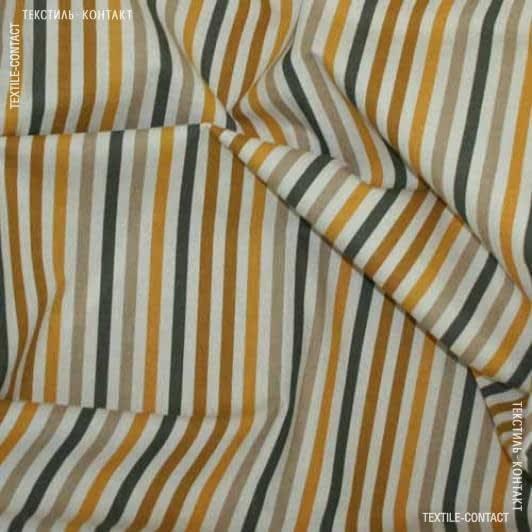 Тканини бавовняні сумішеві - Декор Жаклін смуга вузька гірчичний