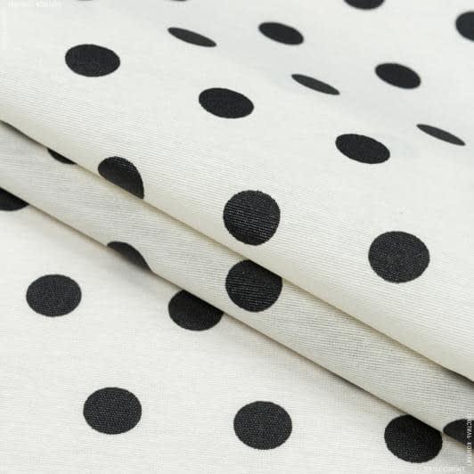Ткани для скатертей - Ткань с акриловой пропиткой горохи  молоч. черный