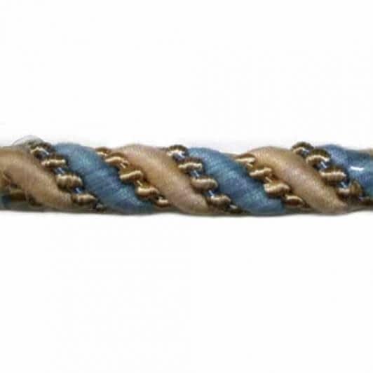 Тканини шнур декоративний - Шнур Базель, бежево-синій