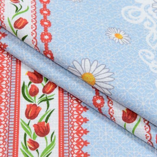 Ткани для полотенец - Ткань полотенечная вафельная набивная весение цветы голубой