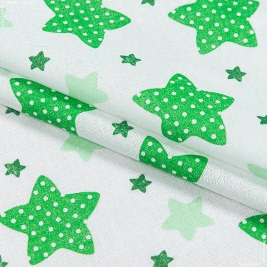 Тканини для дитячого одягу - Ситец 67-ткч зірки зелений