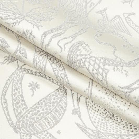 Ткани портьерные ткани - Декоративная ткань  эдем серый, фон сливочный