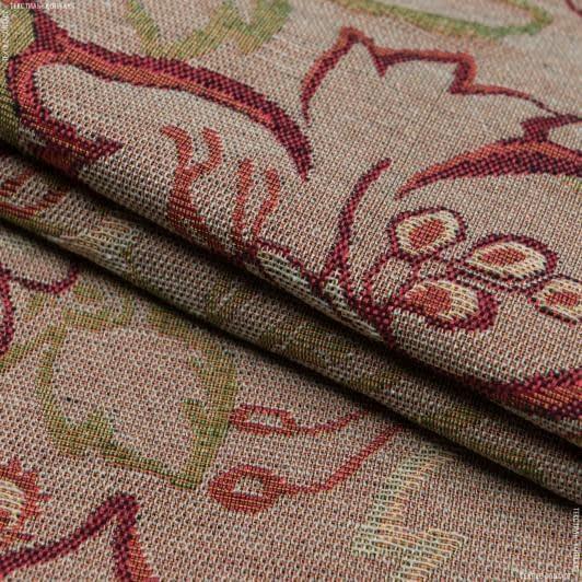 Тканини для декоративних подушок - Гобелен квіти бодіам беж
