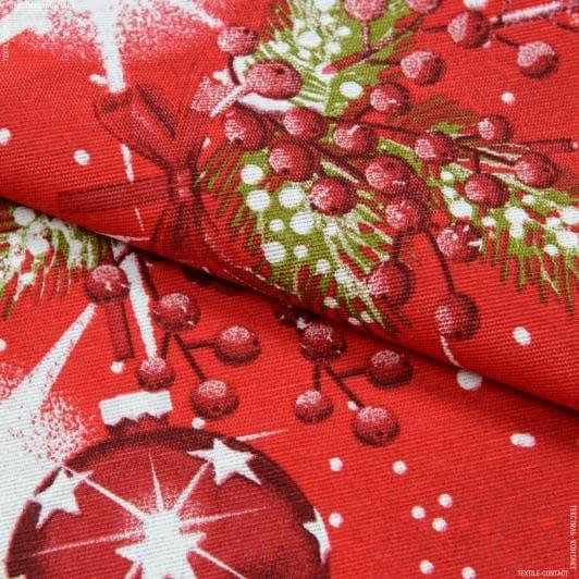Ткани для декоративных подушек - Декоративная новогодняя ткань Лонета / Игрушки, красный
