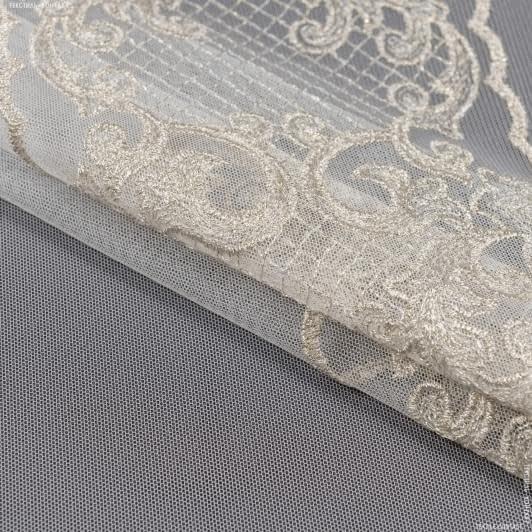 Тканини для рукоділля - Тюль мереживо тельма купон св.золото