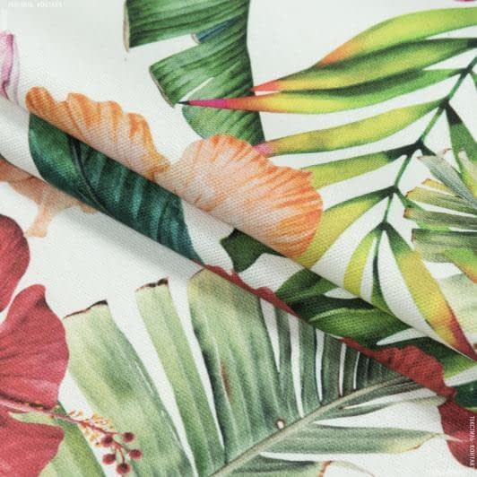 Тканини портьєрні тканини - Декоративна тканина гібіскус фуксія, оранж