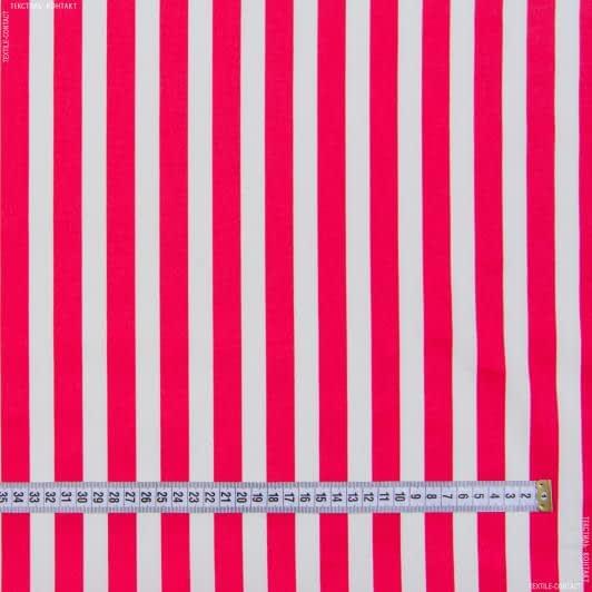 Ткани для брюк - Коттон стрейч полоска малиново-белый