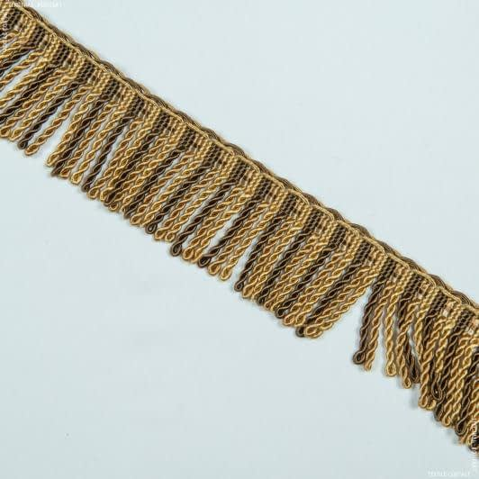 Бахрома имеджен спираль коричневый-золото 52800  – купить в Киеве, цена ткани в Украине   Интернет магазин Текстиль Контакт