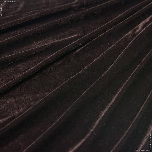 Ткани для платьев - Велюр стрейч коричневый