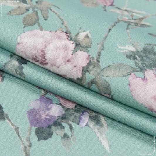 Ткани портьерные ткани - Декоративная ткань сомбра розы/ sombra фон т.бирюза