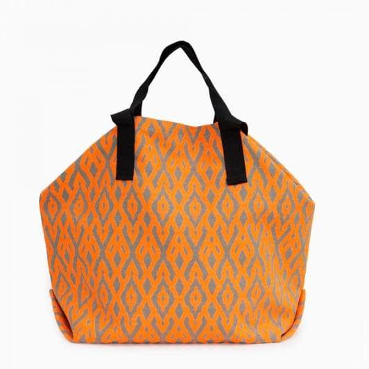 Тканини сумка шопер - Сумка шопер дайніс  /ромб/беж. яскраво - помаранчевий 50х50 см