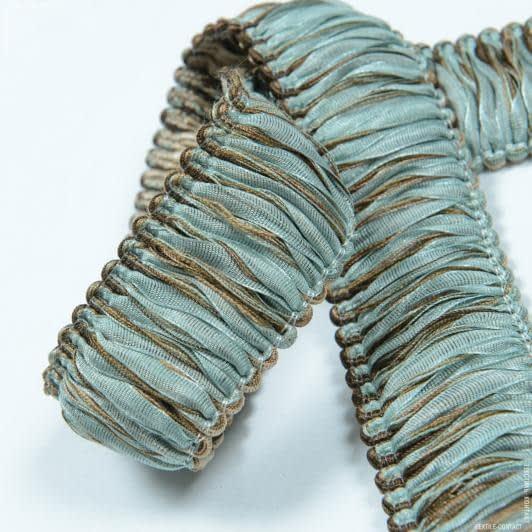 Ткани фурнитура для декора - Бахрома имеджен органза петля коричневый-бирюза