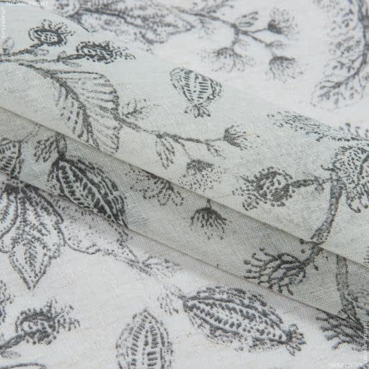 Тканини гардинні тканини - Декоративна тканина кисея хані квіти сірий