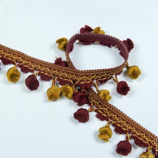 Ткани фурнитура для декора - Бахрома базель кисточка бордо-золото