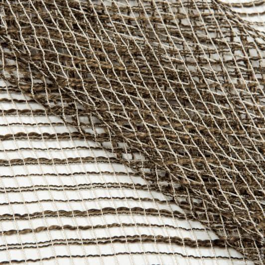 Тканини для драпірування стін і стель - Тюль з обважнювачем ніколь коричневий меланж