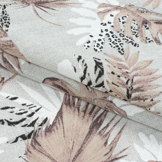 Тканини портьєрні тканини - Декоративна тканина селва дрібний лист/selva т.беж