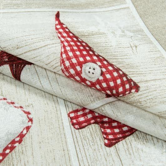 Ткани для декоративных подушек - Декоративная новогодняя ткань сердечки,олени