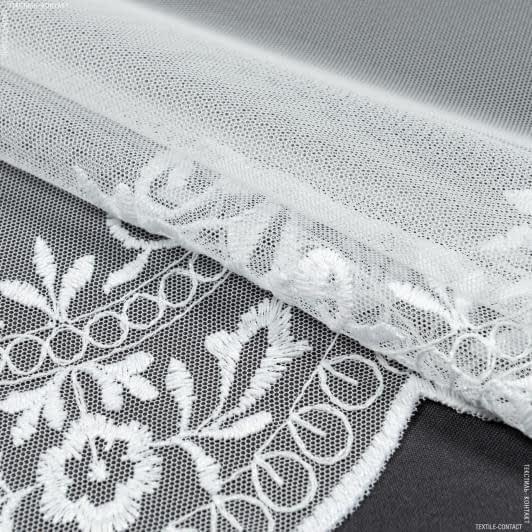 Ткани гардинные ткани - Тюль вышивка  августа фестон белый блеск