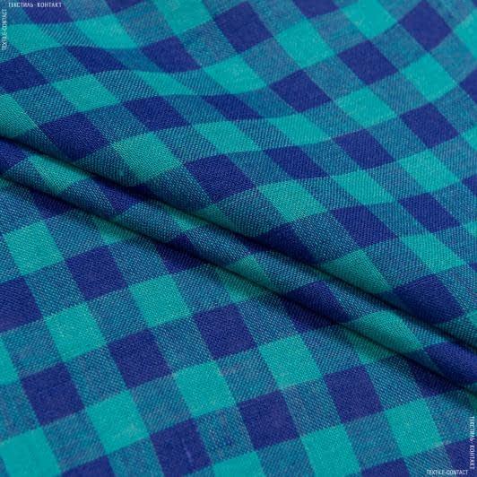Тканини для суконь - Льон alinedes смарагдовий/синій
