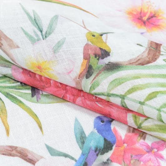 Тканини для тюлі - Тюль з обважнювачем тенда колібрі квіти/ colibri art