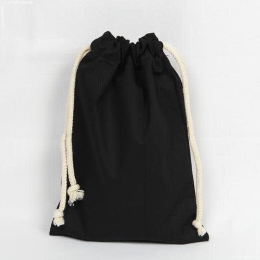 Ткани экосумка - Мешочек саржа черный 20х28