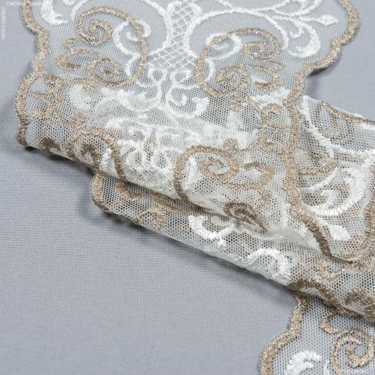 Тканини для печворку - Декоративне мереживо лівія / молочний , т. беж 16 см