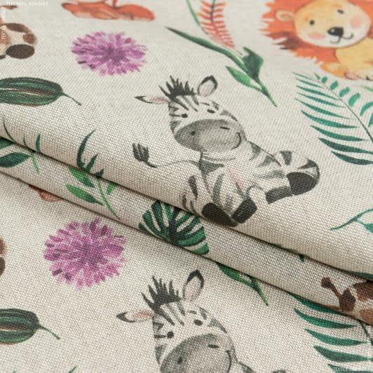 Ткани портьерные ткани - Декоративная ткань мультик/ фон натуральный