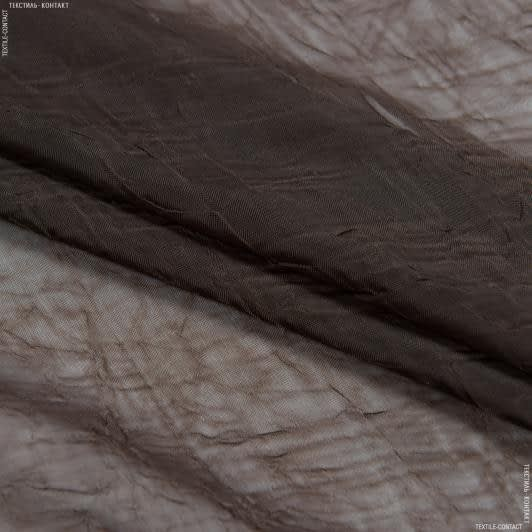 Тканини для драпірування стін і стель - Тюль   вуаль креш з обважнювачем шоколад