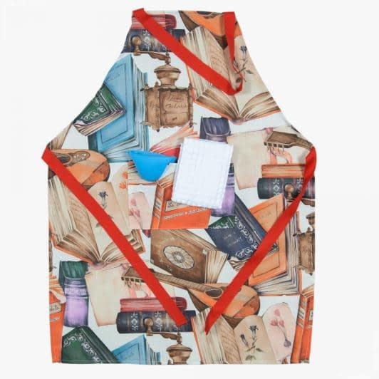 Ткани текстиль для кухни - Комплект кухонный: фартук, полотенце, прихватка/ принт книги