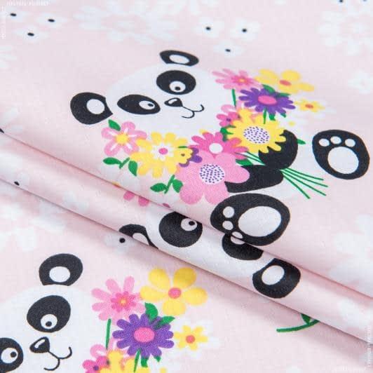 Ткани для детского постельного белья - Бязь набивная детская панда розовый