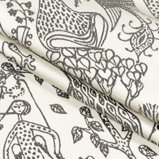 Ткани портьерные ткани - Декоративная ткань  эдем т. серый, фон сливочный