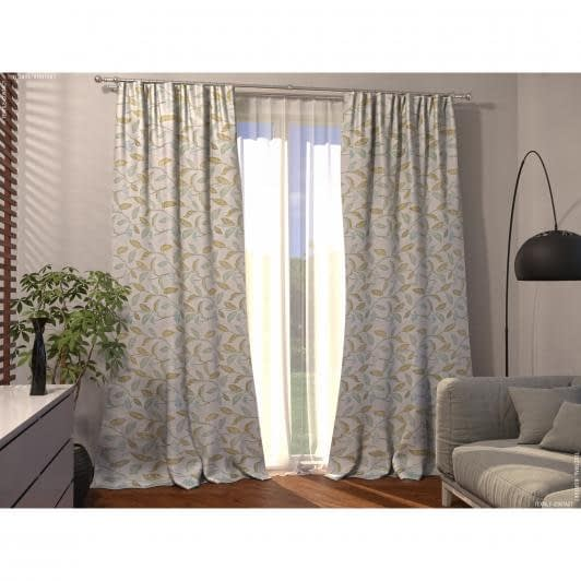 Ткани готовые изделия - Декоративная штора сиэтл/листья оливка,лазурь фон молочний 150/270 см