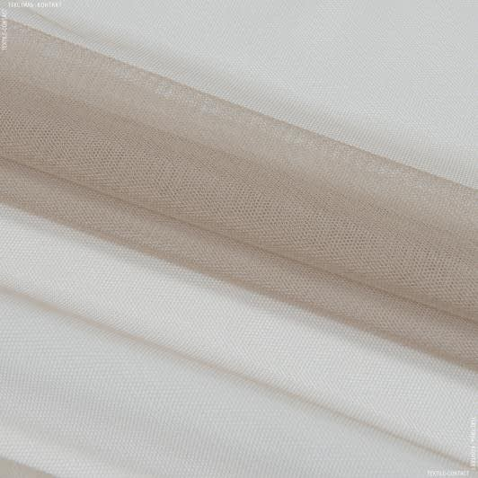 Ткани гардинные ткани - Тюль с утяжелителем сетка грек/grek  т.беж
