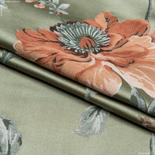 Ткани портьерные ткани - Декоративная ткань  палми цветы/palmi  фон оливка,оранж/беж