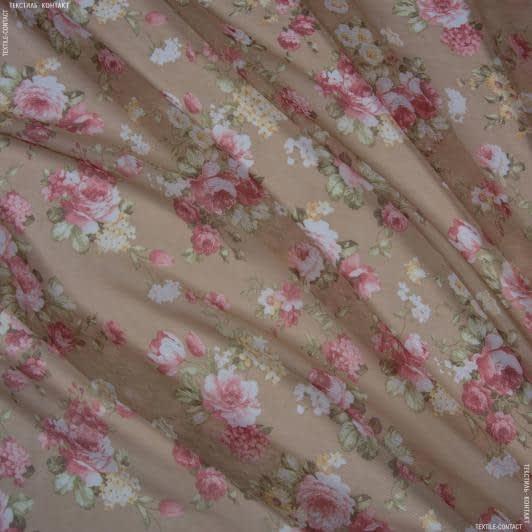 Ткани для тюли - Батист принт розочки прованс