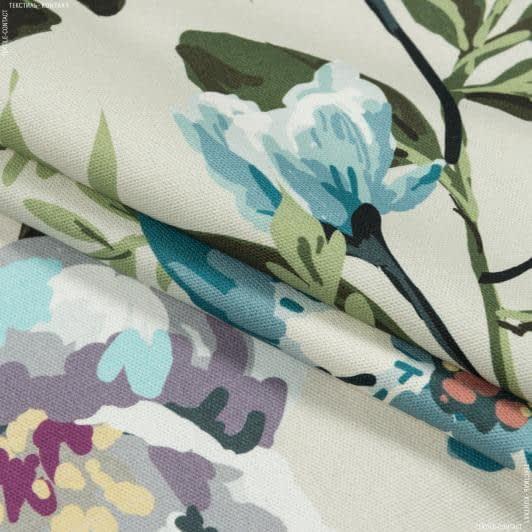 Тканини портьєрні тканини - Декоративна тканина квіти акварель блакитний