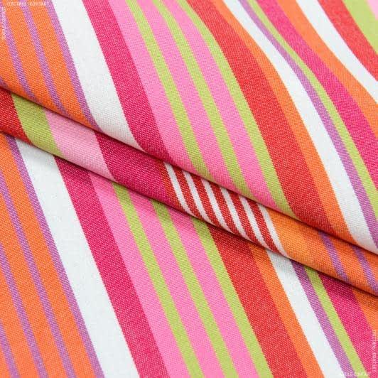 Ткани портьерные ткани - Дралон полоса  / красный, зеленый, оранжевый  FRBS1