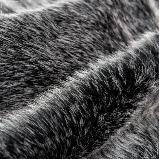 Ткани для верхней одежды - Мех шубный черный тонированный  белым