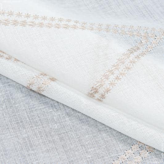 Ткани гардинные ткани - Тюль  с утяжелителем марселла вышивка/marsella  /  беж
