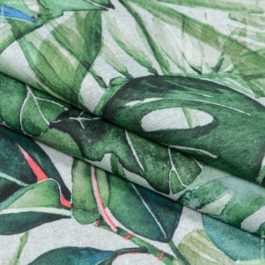 Тканини портьєрні тканини - Декоративна тканина джунглі монстера зелений