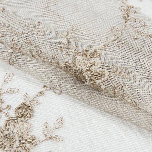 Тканини гардинні тканини - Тюль вишивка руфіна квіти беж