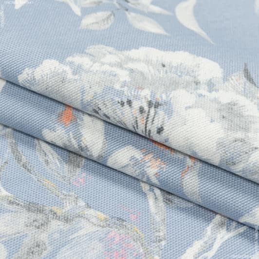 Ткани портьерные ткани - Декоративная ткань омбра цветы/ ombra  фон голубой