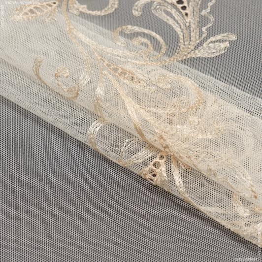 Ткани гардинные ткани - Тюль   сетка вышивка азария вязь крем