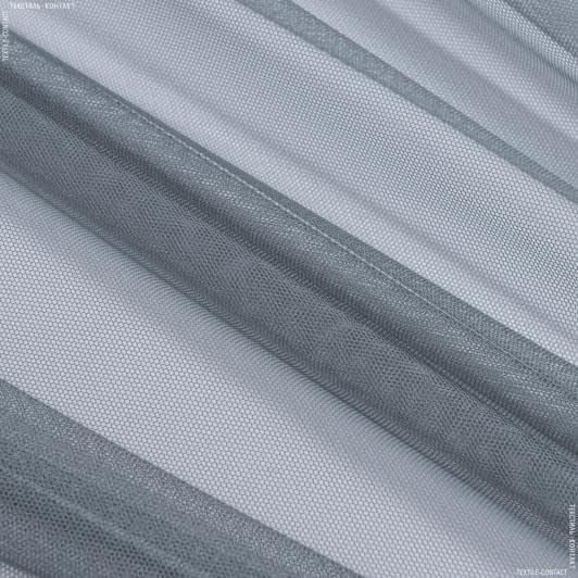 Ткани гардинные ткани - Тюль с утяжелителем сетка грек/grek т.серый