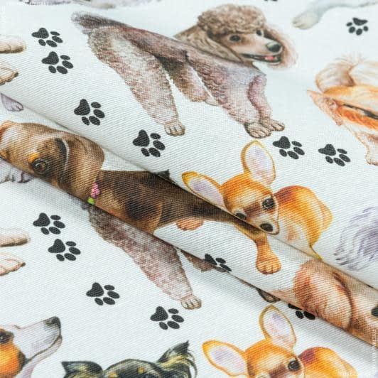 Тканини портьєрні тканини - Декоративна тканина реф/ref собаки тон молочний